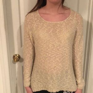 Beige Sweater with Lace Details Size M